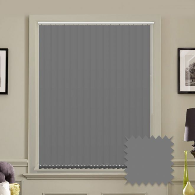 Made to measure vertical blinds in Splash Rock Grey plain fabric - Just Blinds